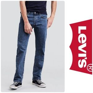 LEVI'S 501 ORIGINAL FIT MEN'S JEANS MED STONE WASH